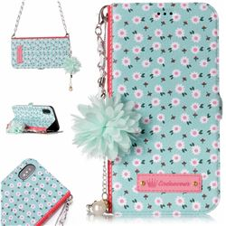 Daisy Endeavour Florid Pearl Flower Pendant Metal Strap PU Leather Wallet Case for iPhone XS / X / 10 (5.8 inch)