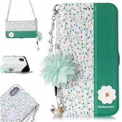 Magnolia Endeavour Florid Pearl Flower Pendant Metal Strap PU Leather Wallet Case for iPhone XS / X / 10 (5.8 inch)
