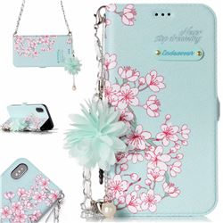 Cherry Blossoms Endeavour Florid Pearl Flower Pendant Metal Strap PU Leather Wallet Case for iPhone XS / X / 10 (5.8 inch)