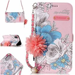Pink Blue Rose Endeavour Florid Pearl Flower Pendant Metal Strap PU Leather Wallet Case for iPhone XS / X / 10 (5.8 inch)