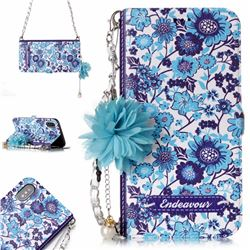 Blue-and-White Endeavour Florid Pearl Flower Pendant Metal Strap PU Leather Wallet Case for iPhone XS / X / 10 (5.8 inch)