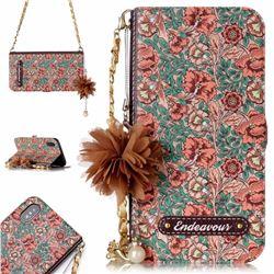 Impatiens Endeavour Florid Pearl Flower Pendant Metal Strap PU Leather Wallet Case for iPhone XS / X / 10 (5.8 inch)