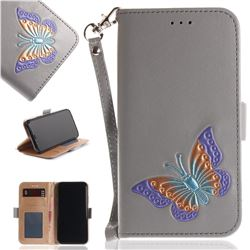 Imprint Embossing Butterfly Leather Wallet Case for iPhone XS / X / 10 (5.8 inch) - Grey