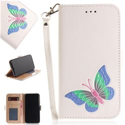 Imprint Embossing Butterfly Leather Wallet Case for iPhone XS / X / 10 (5.8 inch) - White