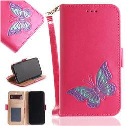 Imprint Embossing Butterfly Leather Wallet Case for iPhone XS / X / 10 (5.8 inch) - Rose Red