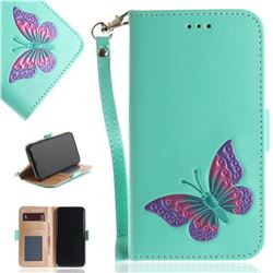 Imprint Embossing Butterfly Leather Wallet Case for iPhone XS / X / 10 (5.8 inch) - Mint Green