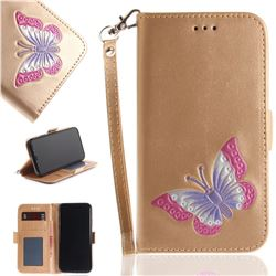 Imprint Embossing Butterfly Leather Wallet Case for iPhone XS / X / 10 (5.8 inch) - Golden