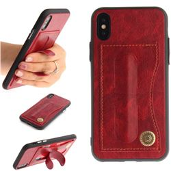 Retro Leather Coated Back Cover with Hidden Kickstand and Card Slot for iPhone XS / X / 10 (5.8 inch) - Red