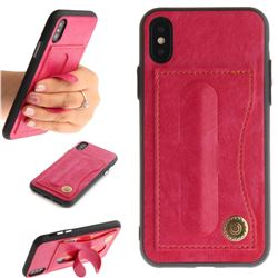 Retro Leather Coated Back Cover with Hidden Kickstand and Card Slot for iPhone XS / X / 10 (5.8 inch) - Rose