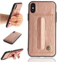 Retro Leather Coated Back Cover with Hidden Kickstand and Card Slot for iPhone XS / X / 10 (5.8 inch) - Rose Gold