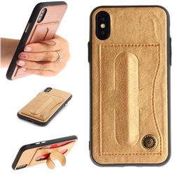 Retro Leather Coated Back Cover with Hidden Kickstand and Card Slot for iPhone XS / X / 10 (5.8 inch) - Golden