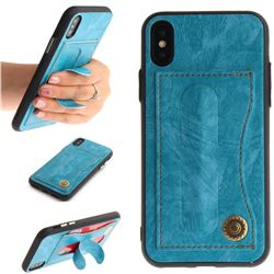 Retro Leather Coated Back Cover with Hidden Kickstand and Card Slot for iPhone XS / X / 10 (5.8 inch) - Sky Blue