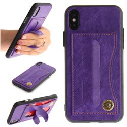 Retro Leather Coated Back Cover with Hidden Kickstand and Card Slot for iPhone XS / X / 10 (5.8 inch) - Purple
