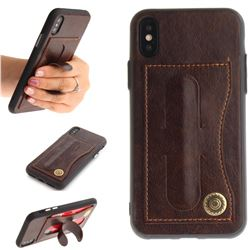 Retro Leather Coated Back Cover with Hidden Kickstand and Card Slot for iPhone XS / X / 10 (5.8 inch) - Coffee