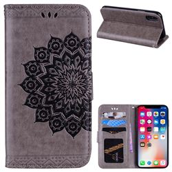 Datura Flowers Flash Powder Leather Wallet Holster Case for iPhone XS / X / 10 (5.8 inch) - Gray