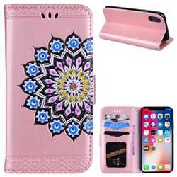 Datura Flowers Flash Powder Leather Wallet Holster Case for iPhone XS / X / 10 (5.8 inch) - Pink