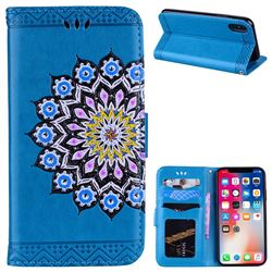 Datura Flowers Flash Powder Leather Wallet Holster Case for iPhone XS / X / 10 (5.8 inch) - Blue