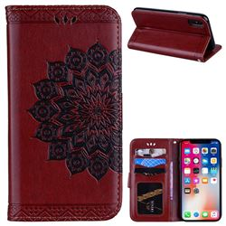 Datura Flowers Flash Powder Leather Wallet Holster Case for iPhone XS / X / 10 (5.8 inch) - Brown