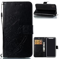 Embossing Butterfly Flower Leather Wallet Case for iPhone XS / X / 10 (5.8 inch) - Black