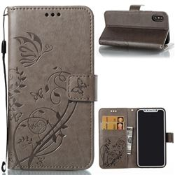 Embossing Butterfly Flower Leather Wallet Case for iPhone XS / X / 10 (5.8 inch) - Grey