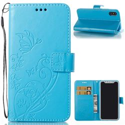 Embossing Butterfly Flower Leather Wallet Case for iPhone XS / X / 10 (5.8 inch) - Blue