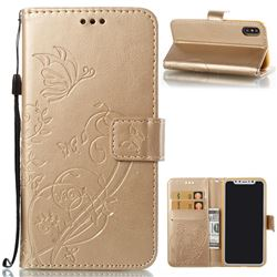 Embossing Butterfly Flower Leather Wallet Case for iPhone XS / X / 10 (5.8 inch) - Champagne