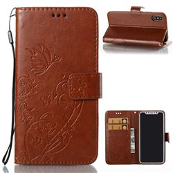 Embossing Butterfly Flower Leather Wallet Case for iPhone XS / X / 10 (5.8 inch) - Brown