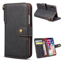Retro Luxury Cowhide Leather Wallet Case for iPhone XS / X / 10 (5.8 inch) - Black