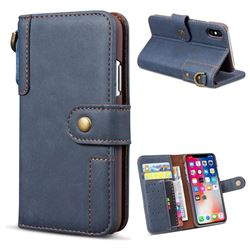 Retro Luxury Cowhide Leather Wallet Case for iPhone XS / X / 10 (5.8 inch) - Blue