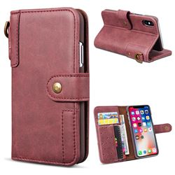 Retro Luxury Cowhide Leather Wallet Case for iPhone XS / X / 10 (5.8 inch) - Wine Red