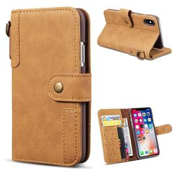 Retro Luxury Cowhide Leather Wallet Case for iPhone XS / X / 10 (5.8 inch) - Brown