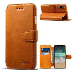 Suteni Calf Stripe Leather Wallet Flip Phone Case for iPhone XS / X / 10 (5.8 inch) - Khaki