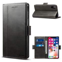 Suteni Calf Stripe Dual Color Leather Wallet Flip Case for iPhone XS / X / 10 (5.8 inch) - Black