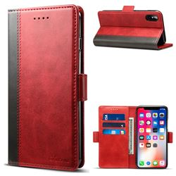 Suteni Calf Stripe Dual Color Leather Wallet Flip Case for iPhone XS / X / 10 (5.8 inch) - Red