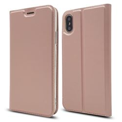Ultra Slim Card Magnetic Automatic Suction Leather Wallet Case for iPhone XS / X / 10 (5.8 inch) - Rose Gold