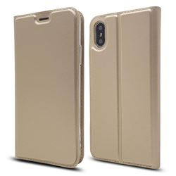 Ultra Slim Card Magnetic Automatic Suction Leather Wallet Case for iPhone XS / X / 10 (5.8 inch) - Champagne