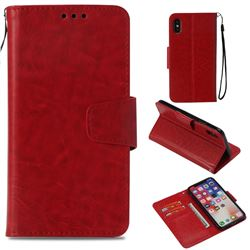 Retro Phantom Smooth PU Leather Wallet Holster Case for iPhone XS / X / 10 (5.8 inch) - Red