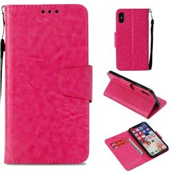 Retro Phantom Smooth PU Leather Wallet Holster Case for iPhone XS / X / 10 (5.8 inch) - Rose