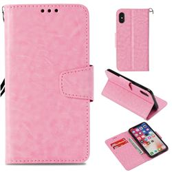 Retro Phantom Smooth PU Leather Wallet Holster Case for iPhone XS / X / 10 (5.8 inch) - Pink