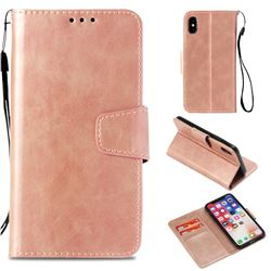 Retro Phantom Smooth PU Leather Wallet Holster Case for iPhone XS / X / 10 (5.8 inch) - Rose Gold