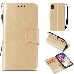 Retro Phantom Smooth PU Leather Wallet Holster Case for iPhone XS / X / 10 (5.8 inch) - Champagne