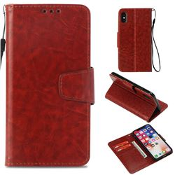 Retro Phantom Smooth PU Leather Wallet Holster Case for iPhone XS / X / 10 (5.8 inch) - Brown