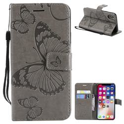 Embossing 3D Butterfly Leather Wallet Case for iPhone XS / X / 10 (5.8 inch) - Gray
