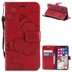 Embossing 3D Butterfly Leather Wallet Case for iPhone XS / X / 10 (5.8 inch) - Red