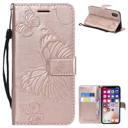 Embossing 3D Butterfly Leather Wallet Case for iPhone XS / X / 10 (5.8 inch) - Rose Gold