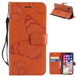 Embossing 3D Butterfly Leather Wallet Case for iPhone XS / X / 10 (5.8 inch) - Orange