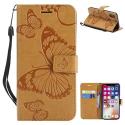 Embossing 3D Butterfly Leather Wallet Case for iPhone XS / X / 10 (5.8 inch) - Yellow