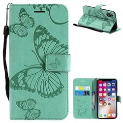 Embossing 3D Butterfly Leather Wallet Case for iPhone XS / X / 10 (5.8 inch) - Green