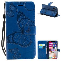 Embossing 3D Butterfly Leather Wallet Case for iPhone XS / X / 10 (5.8 inch) - Blue