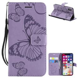 Embossing 3D Butterfly Leather Wallet Case for iPhone XS / X / 10 (5.8 inch) - Purple